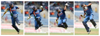 This combo picture shows Indian cricketer Yuvraj Singh leaping in the air after scoring a century.AFP