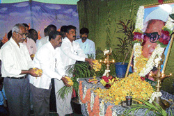 In memory: District Information officer C M Ranga Reddy, DSS Zilla Unit convener K C Rajakanth and others paid floral tribute to former deputy prime minister Babu Jagjivan Ram on his 23rd death anniversary, organised by the Social Welfare