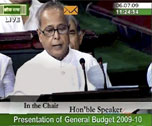 Finance Minister Pranab Mukherjee reading out the General Budget 2009-10, in Parliament in New Delhi on Monday.