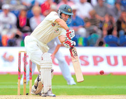 Rock Solid: Simon Katich steadied the Australian innings with an unbeaten 53 on Thursday. AFP