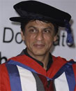 Shahrukh Khan after being given honorary doctorate  from the University of Bedfordshire, London, Friday. AP