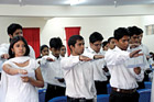 RESPONSIBLE: Students take oath. DH photo by Shiva Kumar B H