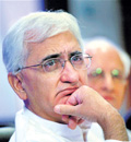 Salman Khurshid briefing reporters in New Delhi.