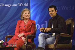 US Secretary of state Hillary Clinton with Bollywood icon Aamir Khan. AP