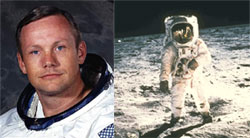 Neil Armstrong ; Right: Standing on the Moon