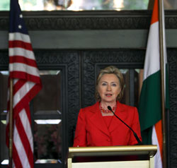 US Secretry of State Hillary Clinton addresses a press conference in Mumbai on Saturday. PTI