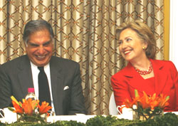 U.S. Secretary of State Hillary Clinton and Chairman of Tata Group Ratan Tata speak during Clinton's meeting with Indian business leaders at the Taj hotel in Mumbai on Saturday. Reuters