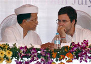 AICC General Secretary Rahul Gandhi with Assam Chief Minister Tarun Gogoi