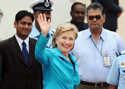 US Secretary of State Hillary Clinton waves as she arrives in New Delhi on Sunday. AFP