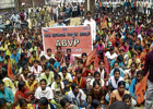 For a Cause Students protesting against the bus pass fare hike, in Chikkaballapur on Monday. DH photo