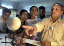 Teachers at an astronomy workshop on solar eclipse organised by Department of Science and Technology in Bhopal. PTI