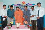 Adichunchangiri Sringeri branch Mutt seer Gunanath Swamiji inaugurating the competition at BGS Science Pre University College. DH PHOTO