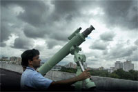 Kolkata: A telescope is being set at the roof top of Birla Industrial & Technolgy Museum as part of preparations to observe the solar eclipse. PTI