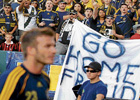 WELCOME BACK! L A Galaxy fans boo David Beckham during a friendly match against AC Milan in Los Angeles. AFP
