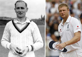 Hedley Verity (L) and Andrew Flintoff