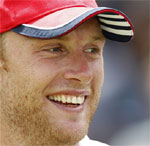 England's Andrew Flintoff is seen after England bowled out Australia on the fifth day of the second cricket test match in London. AP