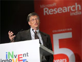 Microsoft Chairman Bill Gates speaks during an interactive session at NASSCOM CEO Forum in New Delhi on Friday. PTI
