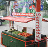 A refrigerated cart made of fibre is ice-cooled to keep vegetables fresh for up to four days