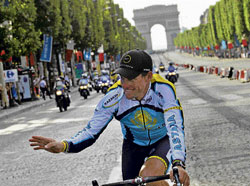 Lance Armstrong thanks the fans after the conclusion of this year's Tour de France on Sunday. AP