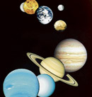 PLANETARY SYSTEM This is a montage of planetary images taken by spacecraft managed by the Jet Propulsion Laboratory in Pasadena, CA. Included are (from top to bottom) images of Mercury, Venus, Earth (and Moon), Mars, Jupiter, Saturn, Uranus and Neptune. NASA