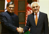 Indian Foreign Minister S M Krishna (L) with his Afghan counterpart Rangin Dadfar Spanta, during a meeting in New Delhi. PTI