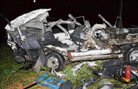 Mangled remains of the Tata Sumo that met with an accident on Mysore Road near Bidadi on Thursday evening.  DH photo by Vishwanath Suvarna