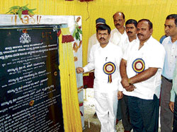 Minister for Youth Services and Sports Affairs Goolihatti Shekar laying the foundation stone for the sports hostel being constructed at a cost of Rs 1 crore at Visvesvaraya Stadium in Kolar on Thursday. Narasimhaiah, Balaji Chennaiah, G V Rangarao, N Shivaraj are also seen. DH Photo