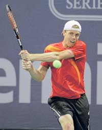 US' Sam Querrey essays a backhand against  Tommy Haas in the LA Open semis on Saturday. Ap