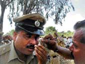 Injured Circle Police Inspector Lakshmaiah DH PHOTO