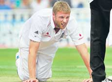DOWN, BUT NOT OUT!: Andrew Flintoff will be fighting to stay fit for the penultimate Test on Friday. AFP