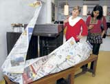 Skilled: Visitors admire the origami work. DH Photos by Janardhan B K