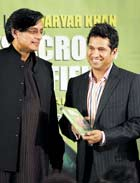 Meeting Of The Minds: Co-author Shashi Tharoor and Sachin Tendulkar at the release of the former's book. AFP