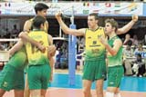 Latino Heat: Brazil players exult after defeating India in the semis of the World U-21 volleyball meet on Saturday.
