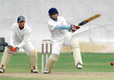 Pulling His Weight: KB Pawan scored an unbeaten 79 in KSCA XI's quarterfinal win at the Chinnaswamy stadium. DH Photo