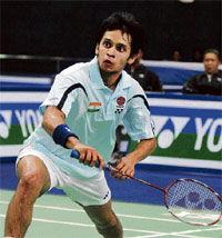 Fierce Focus: P Kashyap is all concentration on his way to Tuesday's first-round victory. DH photo/Kishore Kumar Bolar