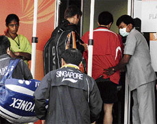 Testing Times: After a Malaysian coach was quarantined with swine flu-like symptoms,  precautionary measures were put in place at the World Badminton Championship. DH photo