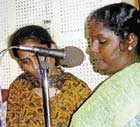 broadcast band: Jamila (right) along with other community women recording a programme at Anna CRS, Chennai.