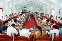 Review: Home Minister Dr V S Acharya addressing the KDP meet in Udupi on Friday. DH photo