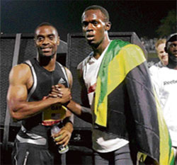 Classic Face-Off: Defending champion Tyson Gay (left) and world record holder Usain Bolt are expected to set the track alight at the World Championships in Berlin.