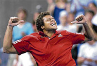 Jubilant: France's Joe Wilfried Tsonga celebrates his win over Giles Simon in the Montreal Masters on Thursday. AP