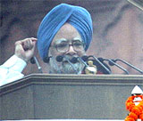 Prime Minister Manmohan Singh delivers Independence Day speech the Red Fort on Saturday. AFP