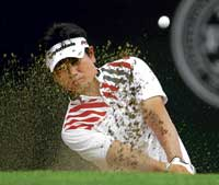 South Korea's Yang Yong-eun makes a shot from the bunker in the US PGA Championship on Saturday. AP