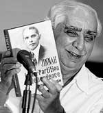Jaswant Singh holds his book, Jinnah: India, Partition, Independence, during its release on Monday. PTI