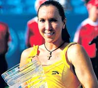 Serbia's Jelena Jankovic poses with the trophy after winning the Cincinnati Open on Sunday. AFP