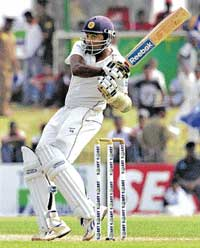 Mahela Jayawardene pulls one en route to his 26th Test century in Galle on Tuesday. AP