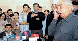 Jaswant Singh addresses a press conference in Shimla on Wednesday. AFP