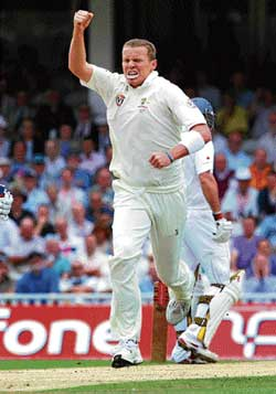 Australia's Peter Siddle is jubilant after dismissing Paul Collingwood at the Oval on Thursday. AFP