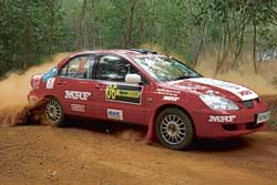 Team MRF's Arjun Balu on his way to the first-day lead in the K-1000 rally on Friday. DH Photo