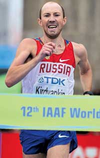 Russian Sergey Kirdyapkin wins the men's 50KM walk at the World Athletics Championships on Friday. AP