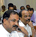Higher Education Minister Arvind Limbavali  at the meeting held in Bangalore on Monday. DH photo